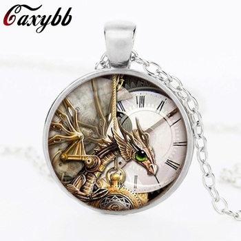 Punk dragon wings round glass dome pendant necklaces charms personality mechanical watches Pendant Choker Necklaces Jewelry N330