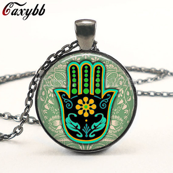 1PC Green Hamsa Hand power necklace glass pendant Om, Zen, Glass flower Henna Art Pendant Necklaces for women jewelry CN-631