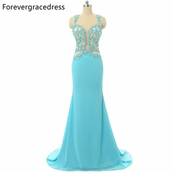 Forevergracedress 2017 Sexy Mint Prom Dress Sheer Top Neck Backless Sleeveless Applique Long Formal Party Dress Plus Size