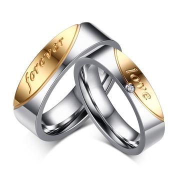 Hot Selling Alliance Ring Quality Stainless Steel Forever Love Ring for Women and Men Quality Gold-Color Wedding Ring