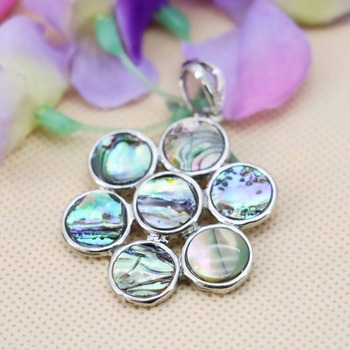 35mm Fashion Flower Design stripe Abalone Material seashells sea shells pendant making jewelry crafts women gifts DIY Decorative