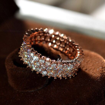 Women Fashion Jewelry Luxury Full AAA Cubic zircon Shining Rings Golden silver Rose gold Elegant not fade fashion jewelry Ring