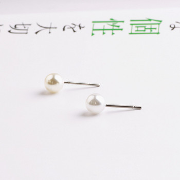 New style 100pcs/lot 6mm rounds pearls decoration fashion jewelry stud earrings girls Ear needle diy earring for women