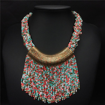 2017 New Bohemian Necklace Boho Fashion Multi Layer Beads Necklace Tassel Necklace Women Hyperbole Nickel Free Jewelry Duftgold