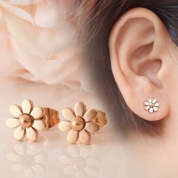 YUN RUO Elegant Little Daisy Stud Earring Fashion Jewelry Titanium Steel Rose Gold Color Valentine Gift Not Fade