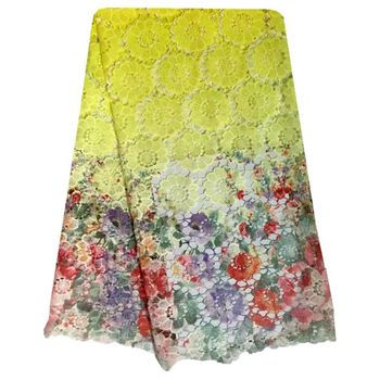 Yellow And Red Flower Water Soluble Mesh Lace Fabric For Wedding African Guipure Lace For Sewing Dresses